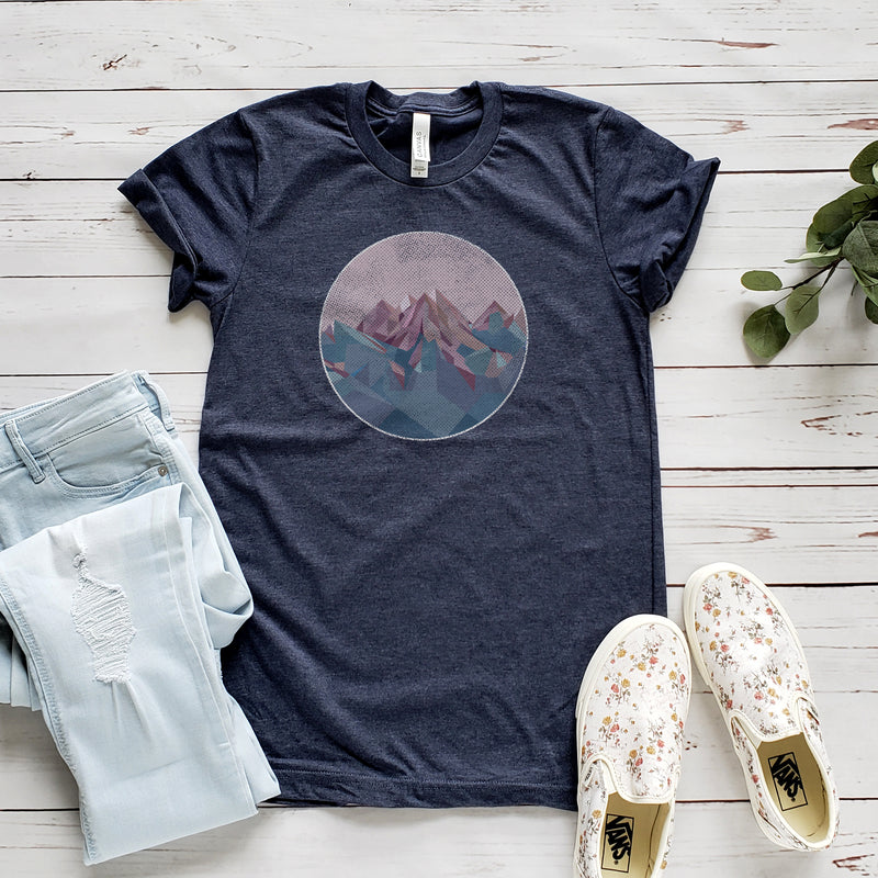 Navy Geometric Mountain Short Sleeve Tee