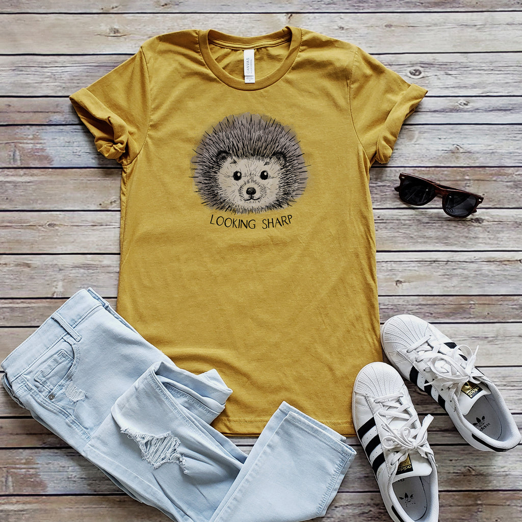 Mustard Hedgehog Looking Sharp Unisex Short Sleeve Tee