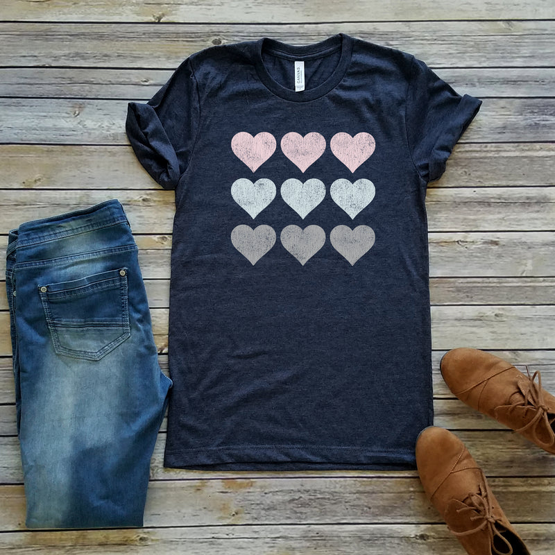 9 Hearts Navy Graphic Tee