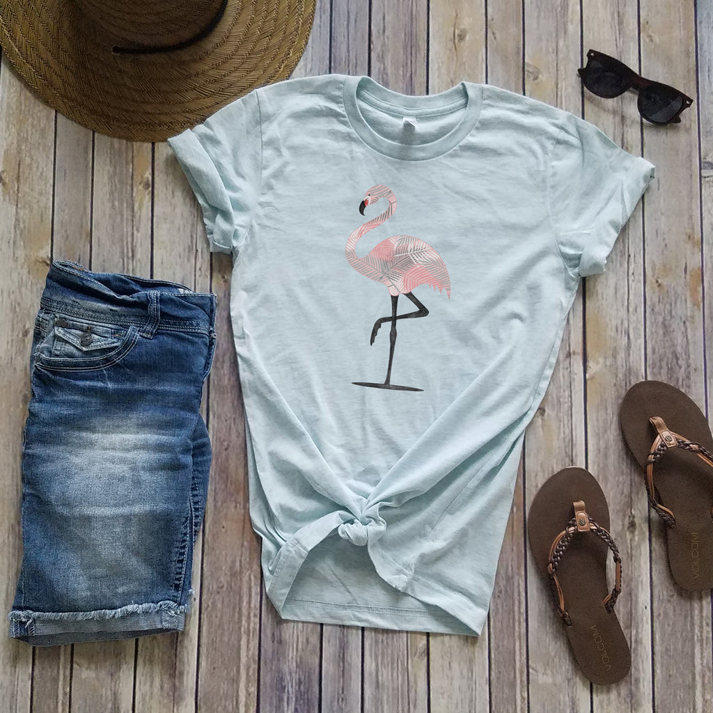 Ice Blue Flamingo Short Sleeve Tee