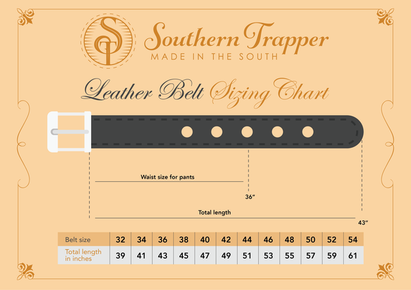 Southern Trapper belt sizing chart
