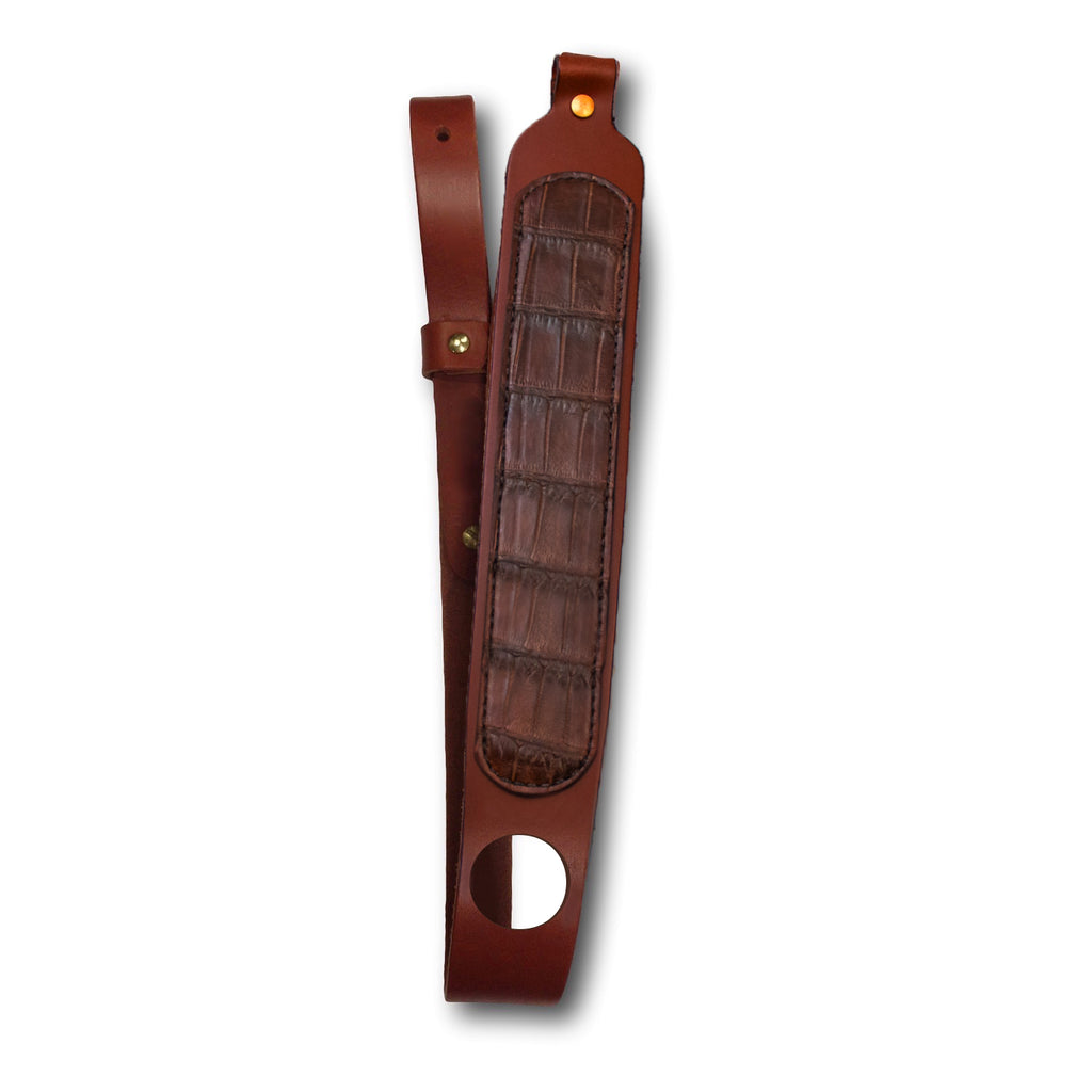 Chocolate Alligator Leather Rifle Sling