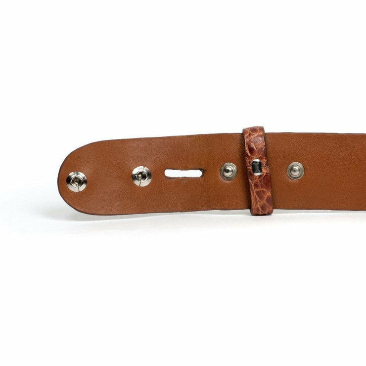 brown hornback crocodile belt