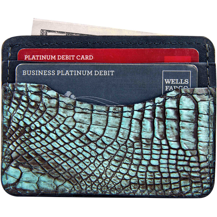 slim alligator skin wallet for men