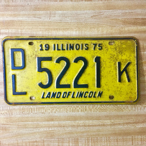 1975 Illinois Dealer License Plate DL 5221 K - Synonyco.com
