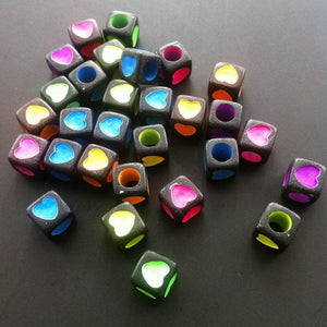Black and Pastel Heart Beads 6mm x 6mm 25 Pcs - Synonyco.com