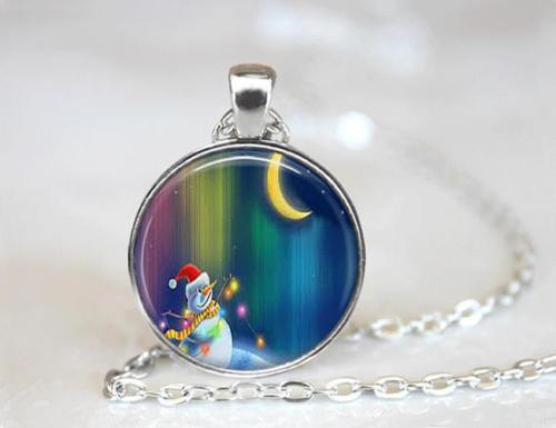Christmas Snowman Cabochon Necklace - Synonyco.com
