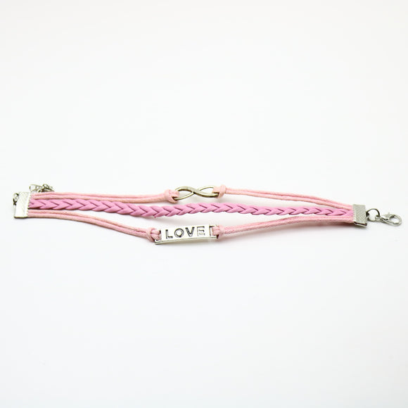 Pink Infinity Love Leather Bracelet - Synonyco.com