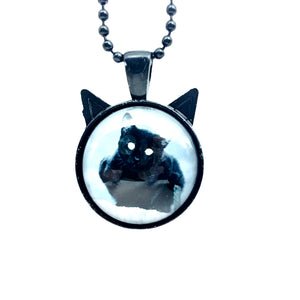 Black Cat Cat Ears Glass Cabochon Necklace - Synonyco.com