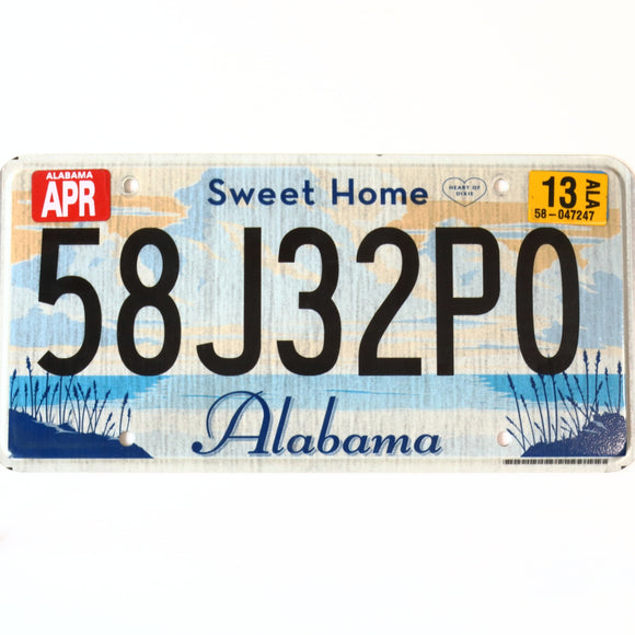 2013 Alabama License Plate 58J32P0
