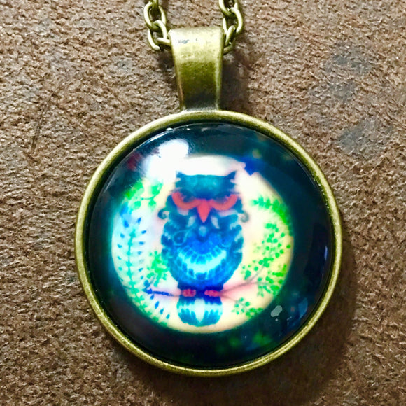 Owl Glass Cabochon Necklace - Synonyco.com