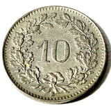 1944 B Switzerland 10 Rappen Coin