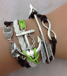 Infinity Arrow Anchor Owl Leather Bracelet - Synonyco.com