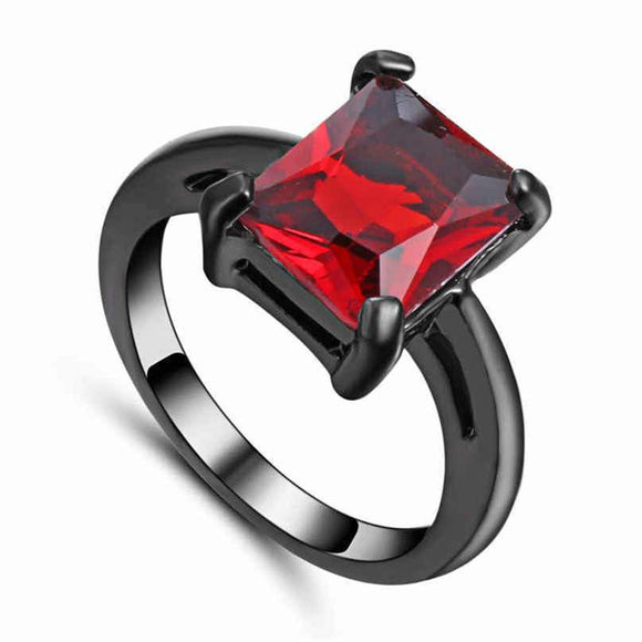 Black Rhodium Red Jeweled Fashion Ring - Synonyco.com