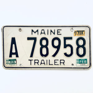 1987 Maine License Plate A 78958