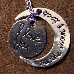 I Love You To The Moon And Back Crescent Moon Necklace - Synonyco.com