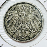 1911 E German Empire 10 Pfennig Coin