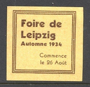 Germany 3rd Reich Period Leipzig Fair 1934 Publicity Stamp - Synonyco.com