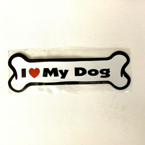 Dog Magnetic Car Decal, Bone Shaped, I Love My Dogs, Made in USA, 7""