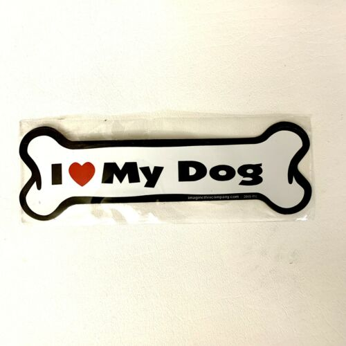 Dog Magnetic Car Decal, Bone Shaped, I Love My Dogs, Made in USA, 7