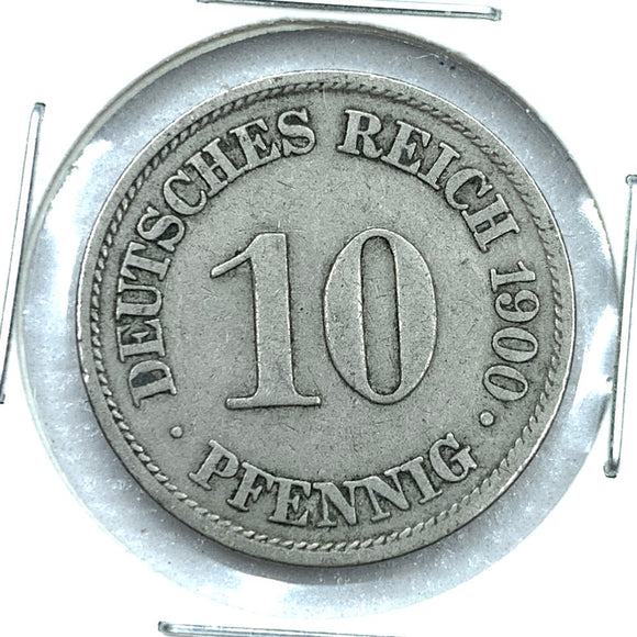 1900 A German Empire 10 Pfennig Coin
