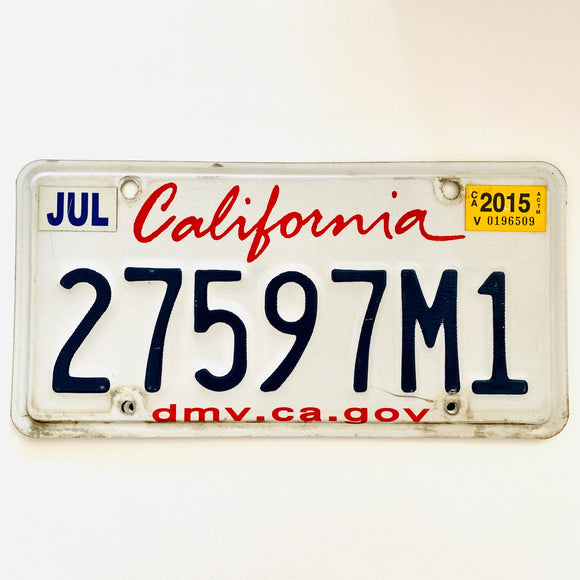 2015 California License Plate 27597M1