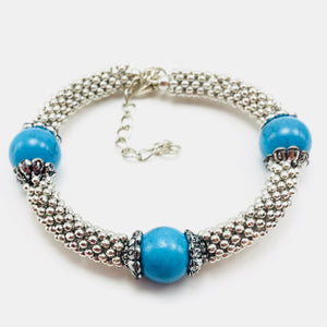 Silver and Turquoise Fashion Jewelry Bracelet - Synonyco.com