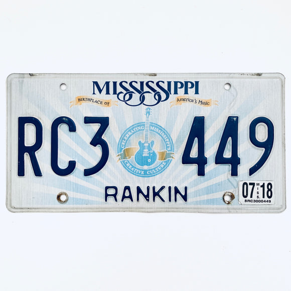 2018 Mississippi License Plate RC3 449