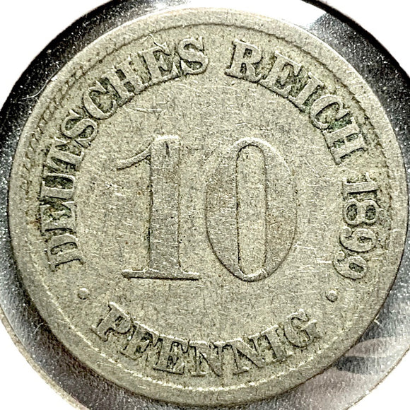 1899 D German Empire 10 Pfennig Coin - Synonyco.com