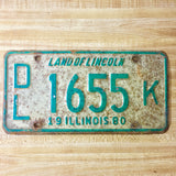 1980 Illinois Dealer License Plate Matched Set DL 1655 K - Synonyco.com