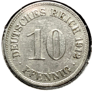 1912 D German Empire 10 Pfennig Coin - Synonyco.com