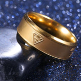 8mm Gold Stainless Steel Superman Ring - Synonyco.com