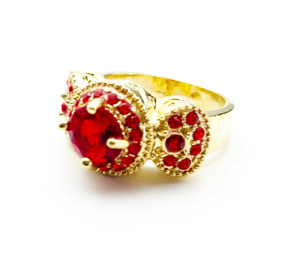 Ruby Red Crystal Gemstone Gold Rhodium Plated Ring Size 6 - Synonyco.com