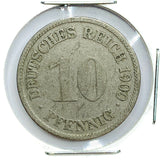 1900 G German Empire 10 Pfennig Coin