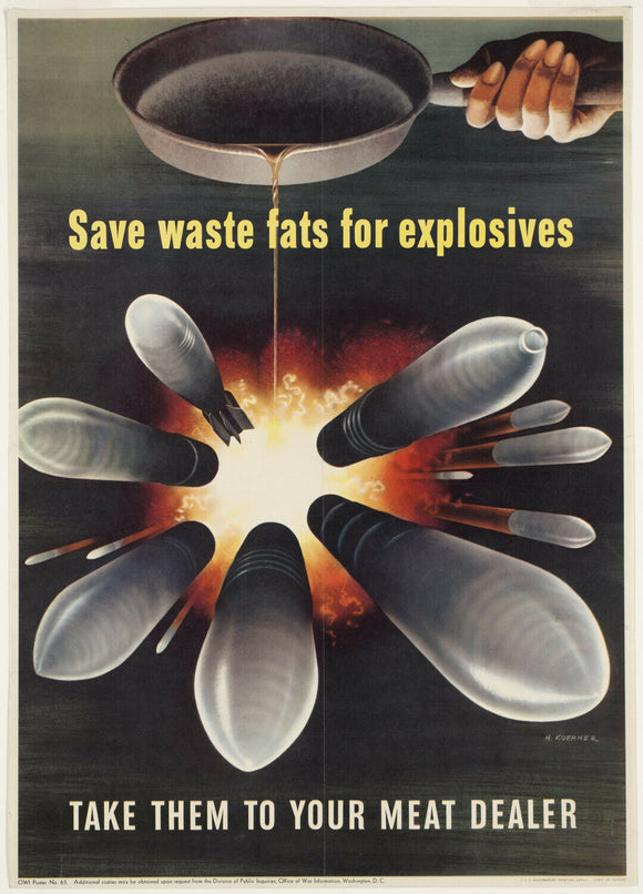Vintage Style WWII Save Waste Fat Canvas Poster 12x17