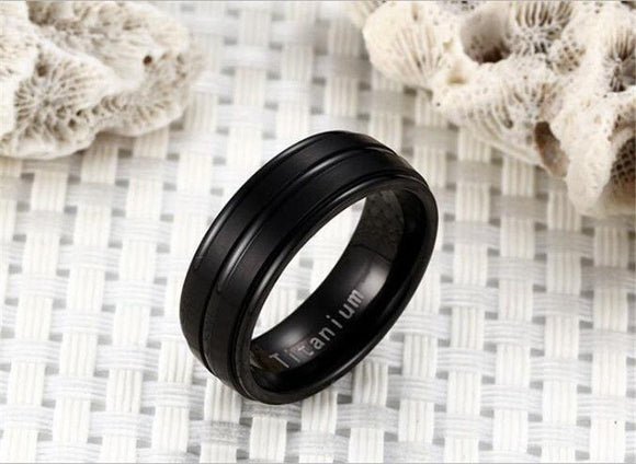 8mm Black Stainless Steel Band Ring