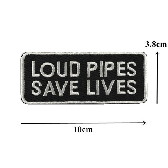 Loud Pipes Save Lives Sew On Biker Patch - Synonyco.com