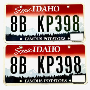 Untagged Idaho License Plate Pair 8B KP398