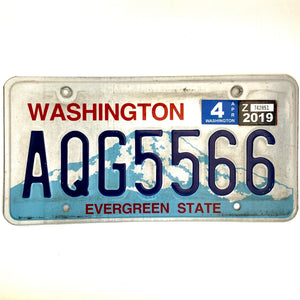 2019 Washington License Plate AQG5566
