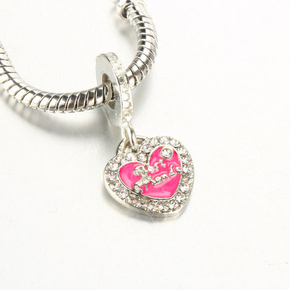Best Friends Red Enameled Charm Bead