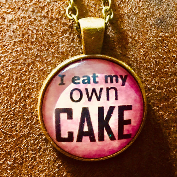 I Eat My Own Cake Glass Cabochon Necklace