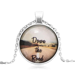 Down The Road Glass Cabochon Necklace - Synonyco.com