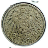 1900 E German Empire 10 Pfennig Coin