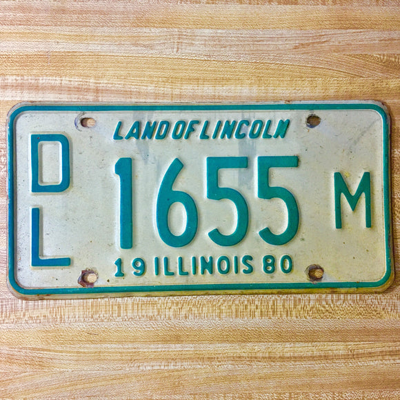 1980 Illinois Dealer License Plate Matched Set DL 1655 M - Synonyco.com