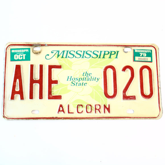 1979 Mississippi Alcorn County License Plate AHE 020 - Synonyco.com