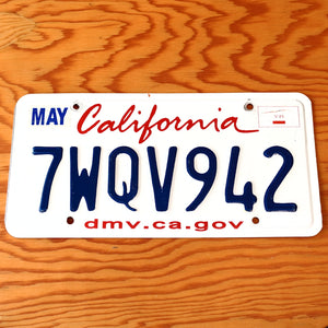California License Plate 7WQV942