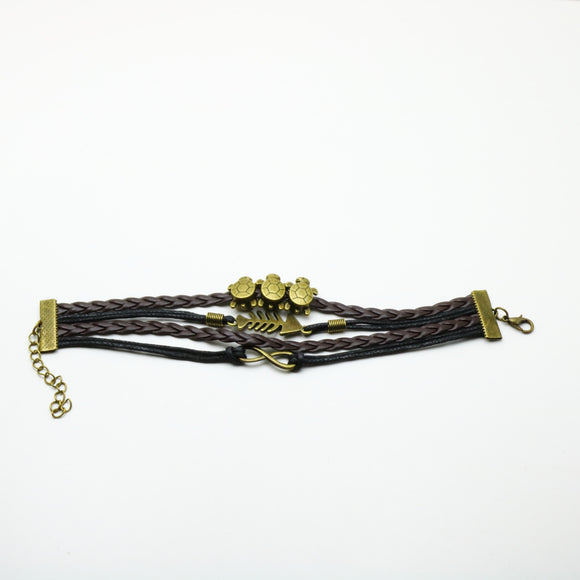 Turtle Feather Infinity Black Leather Bracelet - Synonyco.com