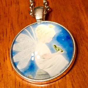 Fairy and Frog Glass Cabochon Necklace - Synonyco.com