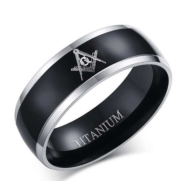 Masonic Stainless Steel and Titanium 8MM Ring - Synonyco.com