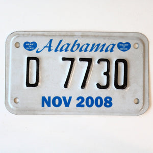 2008 Alabama Motorcycle License Plate D 7730 - Synonyco.com